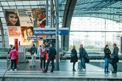 Berlin, 03 October 2017: The central station is called Berlin Hauptbahnhof. People are waiting for the train on the Royalty Free Stock Photo