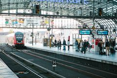 Berlin, 03 October 2017: The central station is called Berlin Hauptbahnhof. People are waiting for the train on the Stock Images