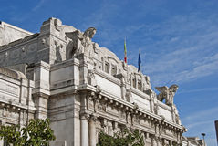 Central station facade. Facade of the central station of Milan Stock Photography