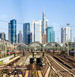 Central station Frankfurt am Main with skyscrapers Stock Images