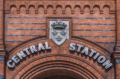 Central Station Malmo. Central railway station sign in Malmo, Sweden stock photo