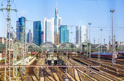 Central Station and Skyline of Frankfurt am Main Royalty Free Stock Photo