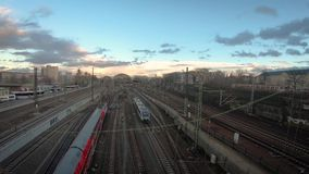 Central Station timelapse. Timelapse of moving trains in the central station of Dresden stock video