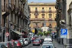 Central street in the ancient Catania Royalty Free Stock Photo