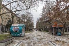 Central street and Building in town of Dimitrovgrad, Haskovo Region, Bulgaria. DIMITROVGRAD, BULGARIA - FEBRUARY 1, 2019: Central street and Building in town of stock images