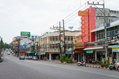 Central street and businesses in the town of Krabi, Thailand Stock Photography