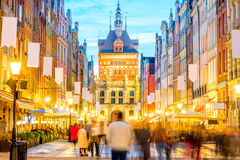 Central street in Gdansk Royalty Free Stock Images