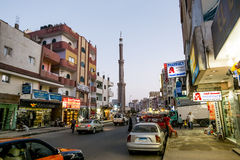 The central street of Hurghada in Egypt evening illumination Royalty Free Stock Images