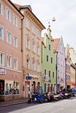 Central street in Landshut, Bavarian town near Munich Royalty Free Stock Photos