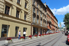 Central street in Lvov Stock Photos