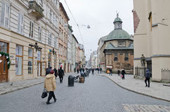 The central street in Lvov Royalty Free Stock Photos