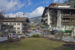 The central street of Mayrhofen. Tyrol, Austria. Royalty Free Stock Photo