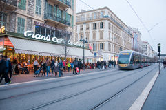 Central street of Nice , French Riviera, during a winter day royalty free stock image