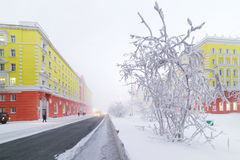 Central Street Norilsk winter. Royalty Free Stock Images