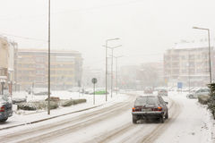 Central street in Pomorie, Bulgaria, 31 december royalty free stock photo