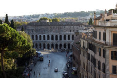Central street in Rome, Italy. One of the central streets in Rome, Italy. Top view Royalty Free Stock Photo