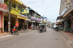 Central street in Siem Reap, Cambodia Royalty Free Stock Photo