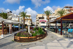 Central street of Sitia town on Crete island, Greece Royalty Free Stock Image