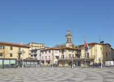 Central street of small Italian city Grumello del monte, Italy. Which is a commune in the province of Bergamo in the Italian region of Lombardy Royalty Free Stock Image