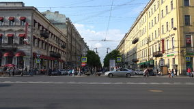 The central street of St. Petersburg with a pompous old building architecture stock video footage