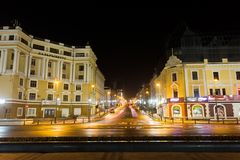 The central street of Vladivostok - Svetlanskaya at night royalty free stock photos