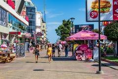The central street of the resort Sunny beach. Bulgaria.Sunny beach.25.08.2018 royalty free stock photography