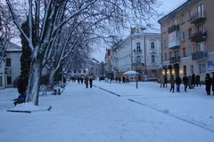 The central streets of the city of Ternopil in winter on Christmas holidays. Stock Photography