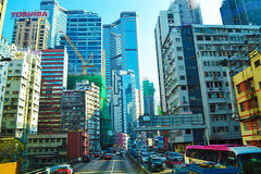 The central streets of Hong Kong with many skyscraper and other objects of modern architecture. Stock Photography