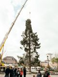 Central tall Christmas Tree Install in Place Kleber. STRASBOURG, FRANCE - OCT 30, 2017: People admiring Strasbourg Christmas Tree Install in central Place Kleber Royalty Free Stock Images