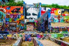 Central Texas Austin Hope Graffiti Art Gallery utomhus- mötesplats Arkivbild