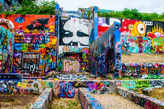 Central Texas Austin Hope Graffiti Art Gallery utomhus- mötesplats Arkivbild