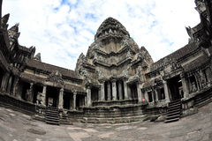 Central tower and pool of Angkor Wat Temple Royalty Free Stock Image