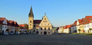 Central square with the Church of St. Aegidius and town hall Bardejov, Slovakia. Central Town Hall Square, Radničné námestie, with the Church of St stock photo