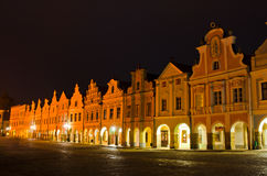 Central town square, Telc, Czech Republic. Facades of city houses with on central square, Telc, Bohemia, Czech Republic. UNESCO protected heritage stock image