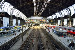 Railway train station in Germany Royalty Free Stock Photo