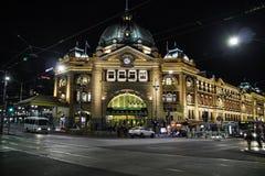 Central Train Station in Melbourne Australia at night stock photo