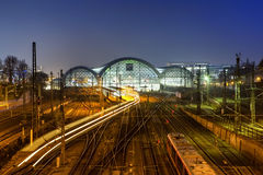 Central Train Station  at night in Dresden Stock Photos