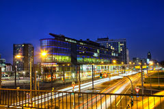 Central Train Station at night in Dresden Stock Photo