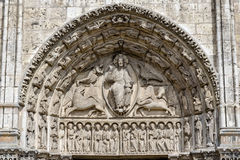 Central tympanum of the Royal portall at Cathedral Our Lady of C Royalty Free Stock Photography