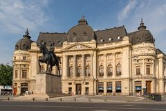 The Central University Library of Bucharest. BUCHAREST, ROMANIA - JUNE 2, 2018: The Central University Library of Bucharest. Frontal view with Carol`s statue stock images