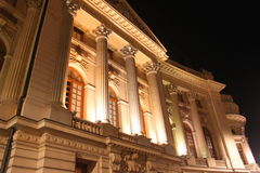 Central University Library of Bucharest. Lighted in the night stock photos