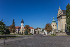 The central  Vicheva square in Zhovkva Royalty Free Stock Photo