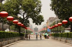 Central West street of Xian, China Stock Photo