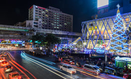 Central World shopping mall at night Royalty Free Stock Photo
