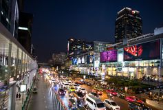 Central World shopping mall at night, Ratchaprasong intersection, Bangkok, Thailand. Asia Stock Photo