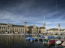 Central zurich old town limmat river landmark view in switzerlan Royalty Free Stock Photo