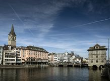 Central zurich old town limmat river landmark view in switzerlan Stock Image