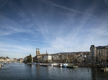 Central zurich old town limmat river landmark view in switzerlan Stock Photography