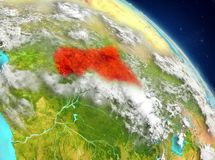 Centrala Afrika från omlopp Arkivfoto