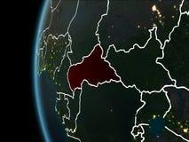 Centrala Afrika från utrymme på natten Royaltyfri Bild